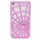 Spider Web Pattern Protective PC Case Cover for iPhone 4 / 4S - Rose Red