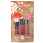 Portable Beauty Cosmetic Makeup Brushes Set - Red + Black (5-Piece Pack)