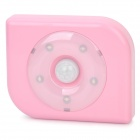 PIR Motion Activated 4-LED White Light Night Lamp - Pink (3 x AAA)