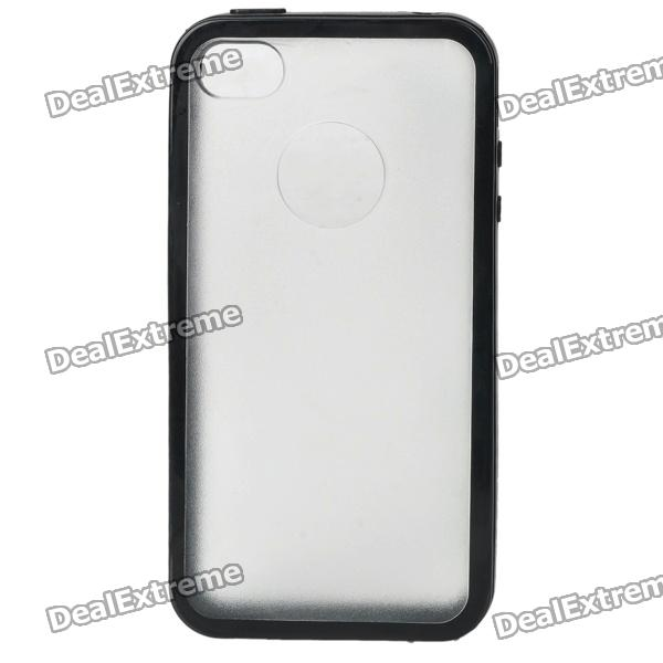 Protective Plastic + PU Cover Case for Iphone 4 / 4S - Black + Clear White