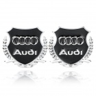 Decorative Audi Logo Badge Emblem Car Sticker - Silver + Black (Pair)