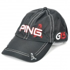Stylish Water Resistant Baseball Cap Hat with Magnetic Ball Marker - Ping Logo (Black)