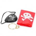 Cool Pirate Style Captain Headband + Eyeshade + Earrings Set - Red + Black + Golden