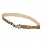 Lady's Fashion Crystal Bowkont Buckle Leopard Grain Waist Belt - Brown (62~100cm)
