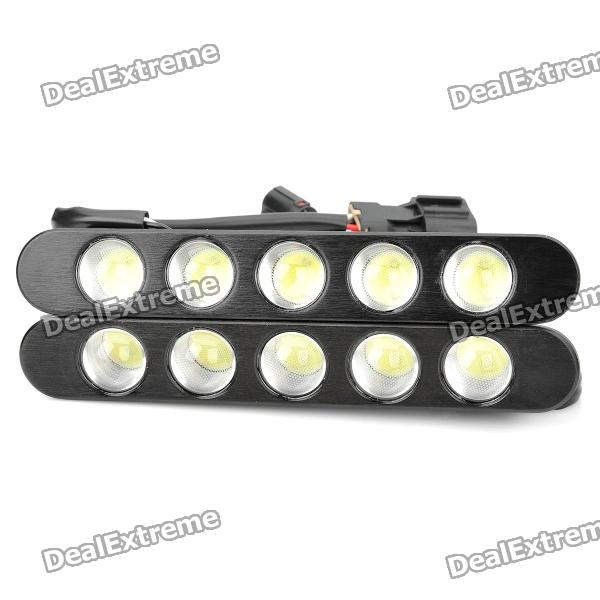15W 1100LM 5*2 LED 6500K White High Power Car Day Running Light (pair)