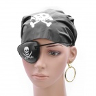 Cool Pirate Style Captain Headband + Eyeshade + Earrings Set - Black + Golden