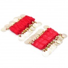 Belly Dance Wristband Bracelet with Sequins Beads - Red + Golden