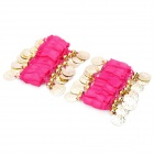 Belly Dance Wristband Bracelet with Sequins Beads - Pink + Golden