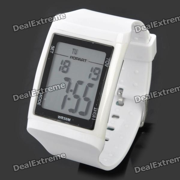 Sports Diving Wrist Watch w/ EL Backlit / Calendar / Stopwatch / Alarm Clock - White (1 x CR2025)