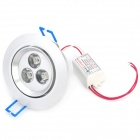 3W 3-LED 240~260LM 6000~6500K LED White Light Ceiling Lamp (85~265V)