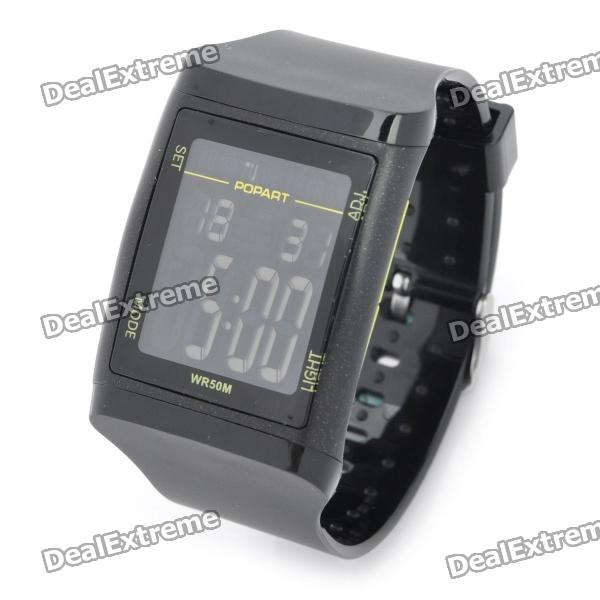 Sports Diving Wrist Watch w/ EL Backlit / Calendar / Stopwatch / Alarm Clock - Black (1 x CR2025)