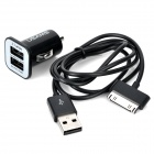 Car Cigarette Powered Charging Adapter w/ 2 USB Output + USB Data/Charging Cable for iPhone / iPad