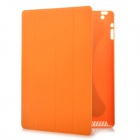 Protective PC Back Case w/ PU Leather Smart Cover for New iPad - Orange