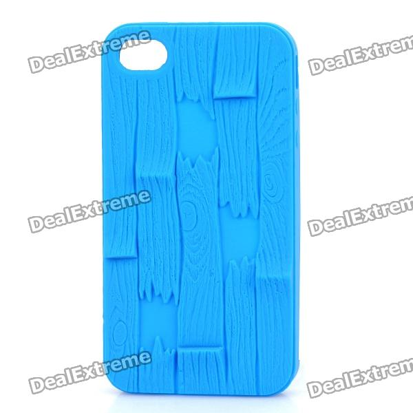 Bark Pattern Design Silicone Protective Case for iPhone 4 / 4S - Blue