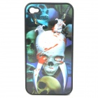Protective PC Back Case with Cool 3D Graphic for Iphone 4 / 4S - Knife Through Skull Pattern