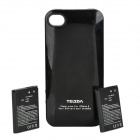 Telsda i.4 External Backup Battery Pack w/ Extra SIM Card slot for iPhone 4 / 4S - Black