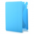 Protective PC Back Case w/ PU Leather Smart Cover for New iPad - Blue