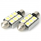 39mm 1.8W 78LM 6000-6500K White 6-SMD 5050 LED Car Reading / Door / Turning Light (DC 12V / Pair)