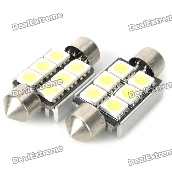 36mm 1.8W 104LM 6000-6500K White 6-SMD 5050 LED Car Reading / Door / Turning Light (DC 12V / Pair) lx 3w 250lm 6500k white light 5050 smd led car reading lamp w lens electrodeless input 12 13 6v