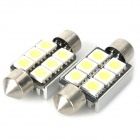 36mm 1.8W 104LM 6000-6500K White 6-SMD 5050 LED Car Reading / Door / Turning Light (DC 12V / Pair)