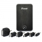 iPower External 3.7V 3000mAh Emergency Power Charger w/ 6 Charging Adapters for Cell Phone - Black