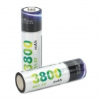 "Rechargeable 1.2V ""3800""mAh AA NI-MH Batteries (Pair)"