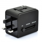 Worldwide Travel Power Adapter Charger w/ UK / Europe / USA / AUST / 2 USB / Power Socket - Black