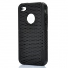 Protective Mesh Style Detachable PP + Soft Silicone Back Case for Iphone 4 / 4S - Black