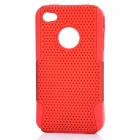 Protective Mesh Style Detachable PP + Soft Silicone Back Case for Iphone 4 / 4S - Red