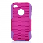 Protective Mesh Style Detachable PP + Soft Silicone Back Case for Iphone 4 / 4S - Purple