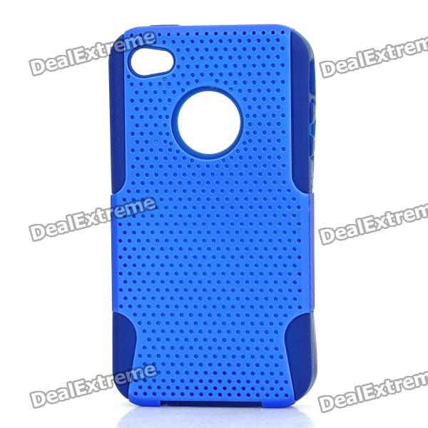 Protective Mesh Style Detachable PP + Soft Silicone Back Case for Iphone 4 / 4S - Blue