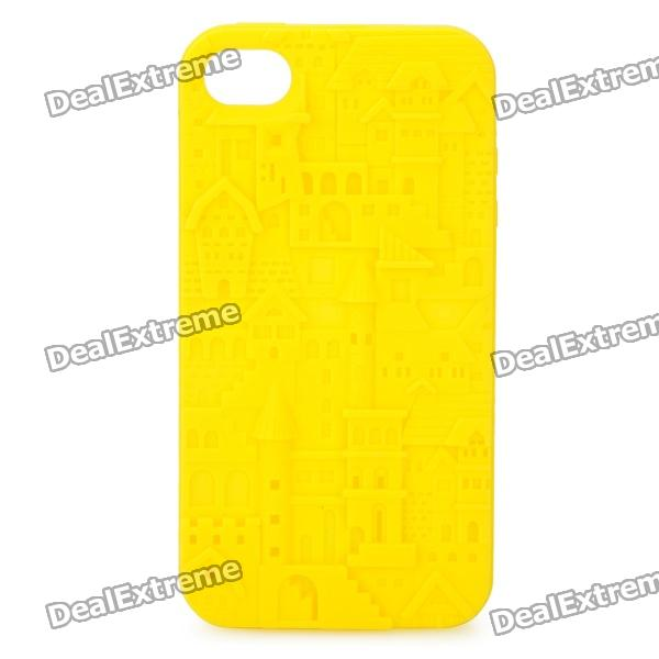 Protective Anaglyph Castle Style Silicone Case for iPhone 4 / 4S - Yellow