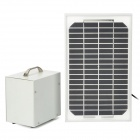 5W Solar Powered Lighting System w/ 2 White Light 2W 200LM 6500K 12-LED Light Bulbs - Silver + Grey