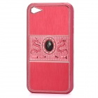 Dragon Relief Imitation Diamond Style Protective PC Back Case for iPhone 4 / 4S - Red