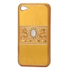 Dragon Relief Imitation Diamond Style Protective PC Back Case for iPhone 4 / 4S - Golden