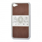 Dragon Relief Imitation Diamond Style Protective PC Back Case for iPhone 4 / 4S - Brown + Silver