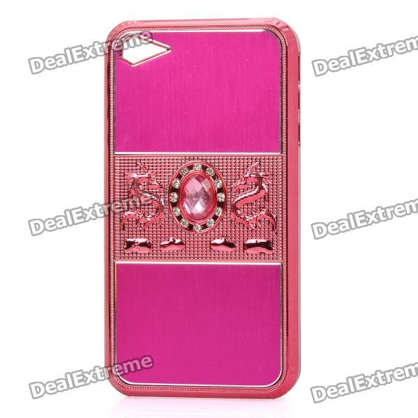 Dragon Relief CrystalStyle Protective PC Back Case for Iphone 4 / 4S - Deep Pink wc king cool man relief style protective pc back case for iphone 4 iphone 4s black