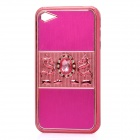 Dragon Relief Imitation Diamond Style Protective PC Back Case for iPhone 4 / 4S - Deep Pink
