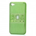Dragon Relief Imitation Diamond Style Protective PC Back Case for iPhone 4 / 4S - Green
