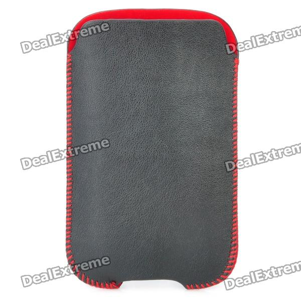 Protective PU Leather Case Pouch for Iphone 3gs / Iphone 4 / Iphone 4S - Black + Red circle pattern protective pu leather case w strap for iphone 4 5 4s red