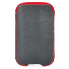 Protective PU Leather Case Pouch for iPhone 3GS / iPhone 4 / iPhone 4S - Black + Red