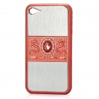 Dragon Relief Imitation Diamond Style Protective PC Back Case for iPhone 4 / 4S - Red + Silver