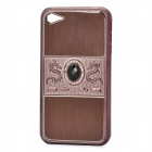 Dragon Relief Imitation Diamond Style Protective PC Back Case for iPhone 4 / 4S - Brown