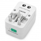Universal Socket Travelling Power Adapter w/ Swivel US / EU / UK Plugs - White (AC 100~240V)