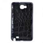 Artificial Crocodile Leather Cover Plastic Back Case for Samsung Galaxy Note / i9220 - Black