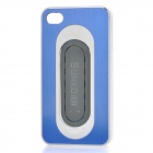 Protective Aluminum Alloy Cover Plastic Back Case w/ Slap Holder for Iphone 4 / 4S - Blue + White