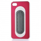 Protective Aluminum Alloy Cover Plastic Back Case w/ Slap Holder for Iphone 4 / 4S - Dark Red