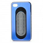 Protective Aluminum Alloy Cover Plastic Back Case w/ Slap Holder for Iphone 4 / 4S - Blue + Black