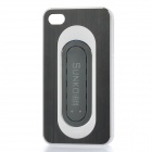 Protective Aluminum Alloy Cover Plastic Back Case w/ Slap Holder for Iphone 4 / 4S - Black