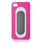 Protective Aluminum Alloy Cover Plastic Back Case w/ Slap Holder for Iphone 4 / 4S - Deep Pink